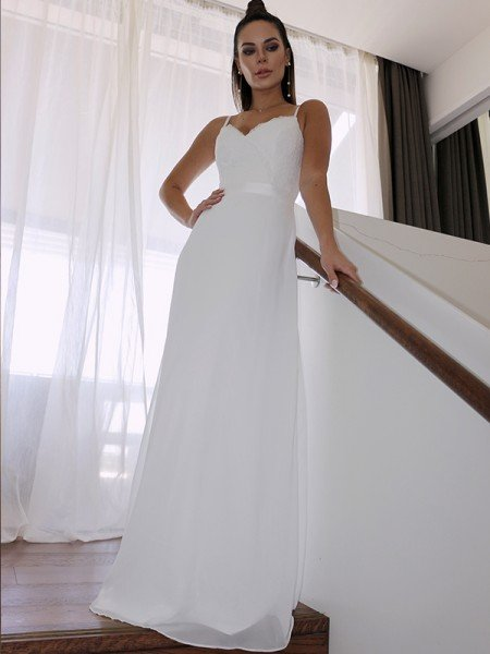Sheath/Column Chiffon Lace Spaghetti Straps Sleeveless Floor-Length Wedding Dresses
