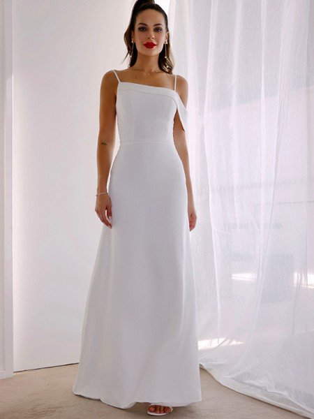 Sheath/Column Spaghetti Straps Satin Sleeveless Ruched Floor-Length Wedding Dresses