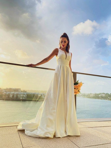 A-Line/Princess Satin Ruffles Scoop Sleeveless Sweep/Brush Train Wedding Dresses