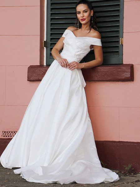 A-Line/Princess Satin Ruched Off-the-Shoulder Sleeveless Court Train Wedding Dresses