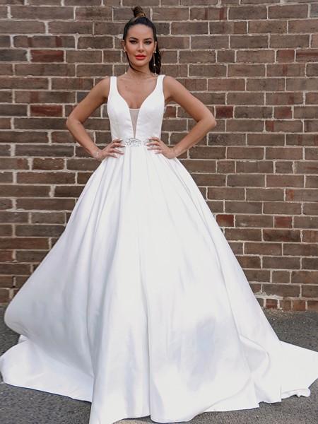 A-Line/Princess Satin V-neck Beading Sleeveless Court Train Wedding Dresses