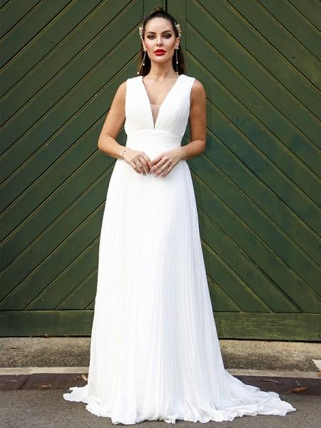 A-Line/Princess Chiffon Ruffles V-neck Sleeveless Sweep/Brush Train Wedding Dresses