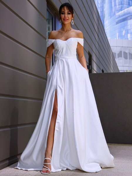 A-Line/Princess Satin Ruched Off-the-Shoulder Sleeveless Sweep/Brush Train Wedding Dresses