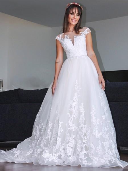 A-Line/Princess Tulle Applique V-neck Sleeveless Court Train Wedding Dresses