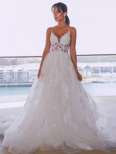 A-Line/Princess Tulle Spaghetti Straps Sleeveless Applique Court Train Wedding Dresses
