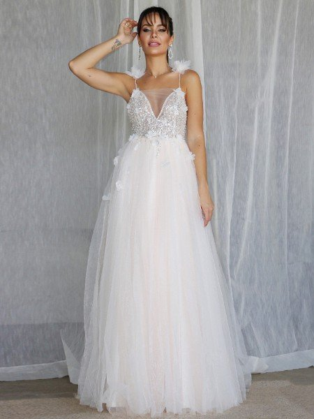 A-Line/Princess V-neck Beading Sleeveless Tulle Floor-Length Wedding Dresses