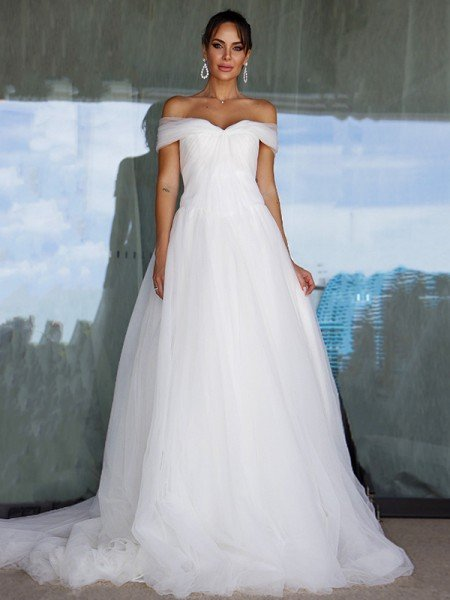 A-Line/Princess Sleeveless Tulle Off-the-Shoulder Ruched Sweep/Brush Train Wedding Dresses