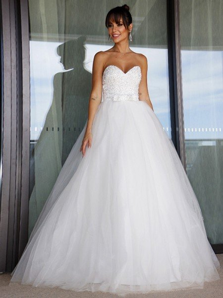 Ball Gown Tulle Sweetheart Bowknot Sleeveless Floor-Length Wedding Dresses