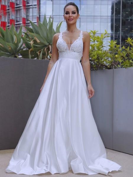 A-Line/Princess V-neck Satin Applique Sleeveless Sweep/Brush Train Wedding Dresses