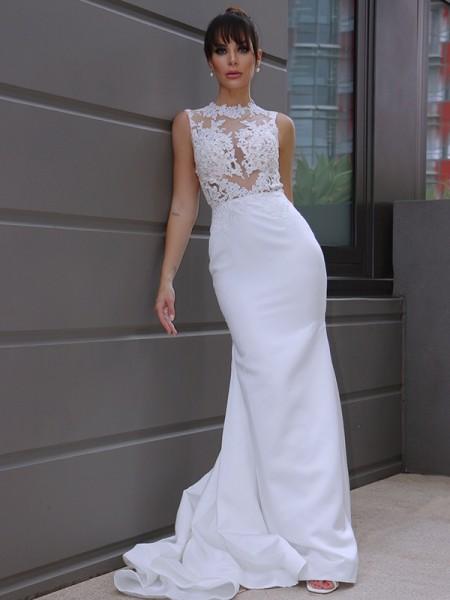 Trumpet/Mermaid Sleeveless Applique Scoop Satin Court Train Wedding Dresses