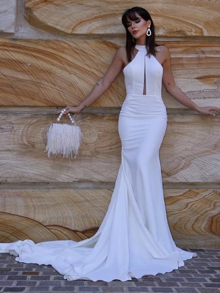 Trumpet/Mermaid Halter Sleeveless Stretch Crepe Ruffles Court Train Wedding Dresses