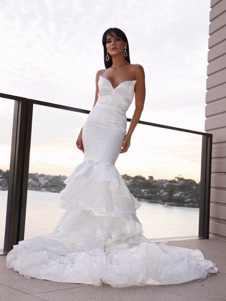 Trumpet/Mermaid Satin Sweetheart Sleeveless Layers Sweep/Brush Train Wedding Dresses