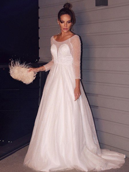 A-Line/Princess Beading Scoop Tulle Long Sleeves Sweep/Brush Train Wedding Dresses