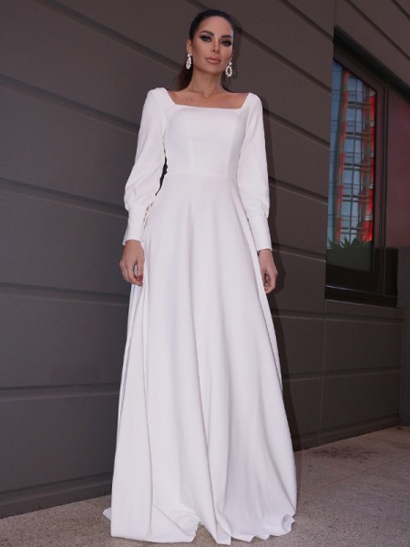 A-Line/Princess Stretch Crepe Ruffles Long Sleeves Square Sweep/Brush Train Wedding Dresses
