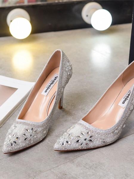 Women's Closed Toe With Rhinestone Stiletto Heel High Heels