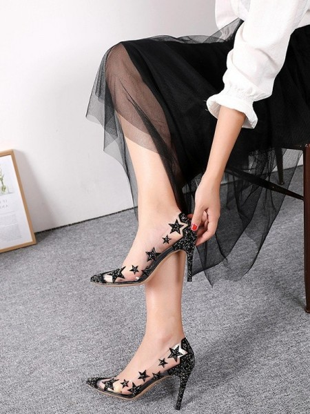 Women's Closed Toe With Star Stiletto Heel High Heels