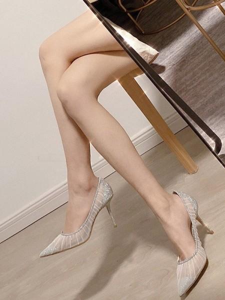 Women's Net Closed Toe Stiletto Heel High Heels