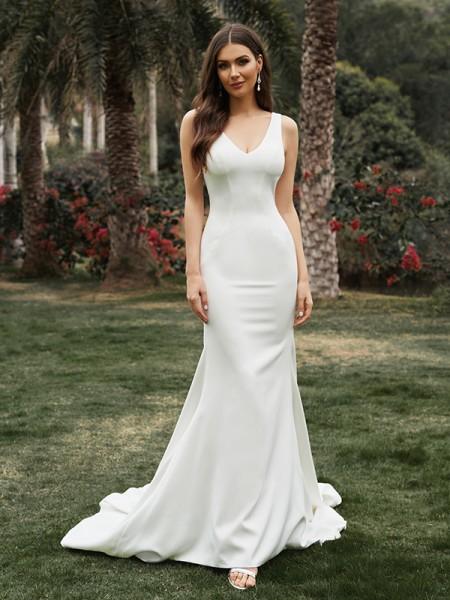 Sheath/Column Sleeveless Satin V-neck Ruffles Sweep/Brush Train Wedding Dresses