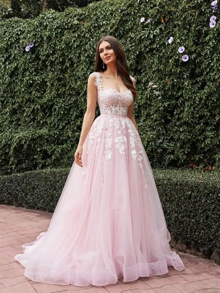 A-Line/Princess Tulle Applique Straps Sleeveless Sweep/Brush Train Wedding Dresses