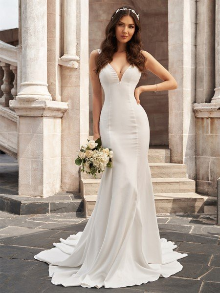 Trumpet/Mermaid Stretch Crepe V-neck Ruffles Sleeveless Court Train Wedding Dresses