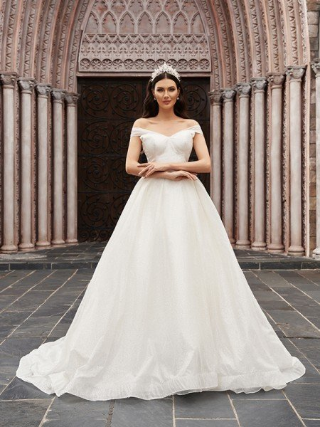 Ball Gown Tulle Ruched Off-the-Shoulder Sleeveless Court Train Wedding Dresses