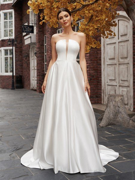 A-Line/Princess Strapless Satin Sleeveless Ruffles Sweep/Brush Train Wedding Dresses