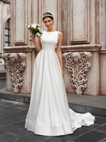 A-Line/Princess Satin Sleeveless Scoop Ruffles Sweep/Brush Train Wedding Dresses