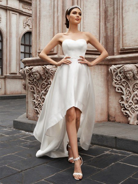 A-Line/Princess Sweetheart Satin Ruffles Sleeveless Asymmetrical Wedding Dresses