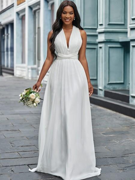 A-Line/Princess Chiffon Halter Ruched Sleeveless Floor-Length Wedding Dresses