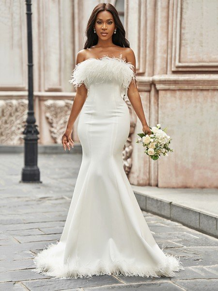 Trumpet/Mermaid Strapless Satin Feathers/Fur Sleeveless Sweep/Brush Train Wedding Dresses