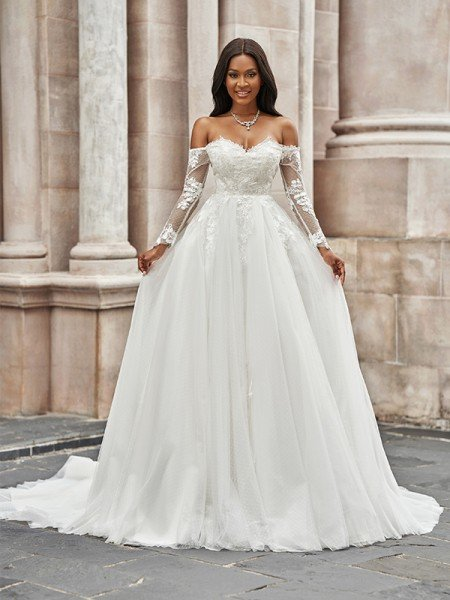 A-Line/Princess Tulle Applique Off-the-Shoulder Long Sleeves Sweep/Brush Train Wedding Dresses