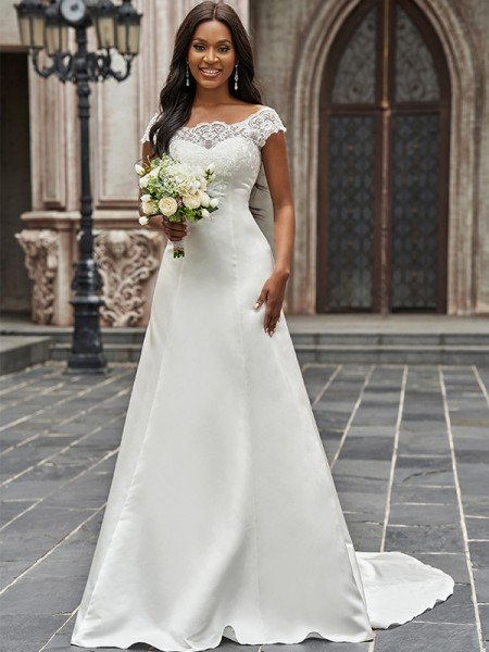 A-Line/Princess Scoop Satin Lace Sleeveless Sweep/Brush Train Wedding Dresses