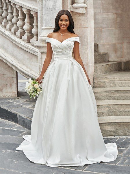 A-Line/Princess Off-the-Shoulder Ruched Sleeveless Satin Court Train Wedding Dresses