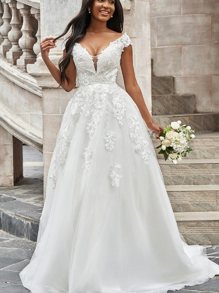 A-Line/Princess Tulle V-neck Applique Sleeveless Sweep/Brush Train Wedding Dresses