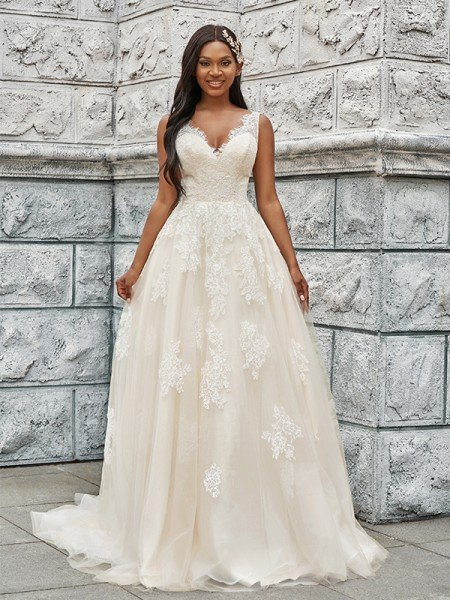 A-Line/Princess Tulle Applique V-neck Sleeveless Sweep/Brush Train Wedding Dresses