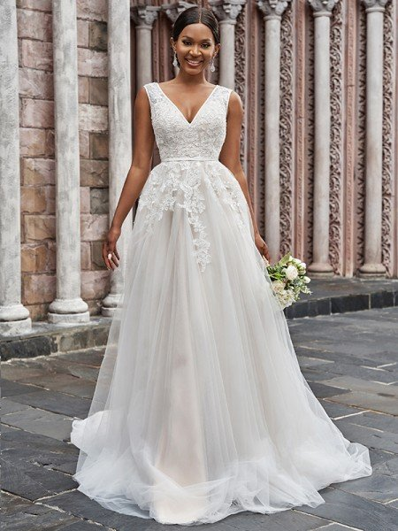 A-Line/Princess V-neck Tulle Applique Sleeveless Sweep/Brush Train Wedding Dresses