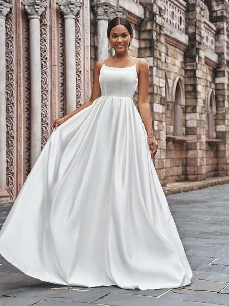 A-Line/Princess Satin Spaghetti Straps Ruffles Sleeveless Sweep/Brush Train Wedding Dresses