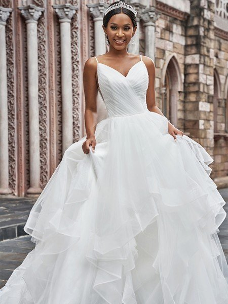 A-Line/Princess Tulle Ruffles Spaghetti Straps Sleeveless Sweep/Brush Train Wedding Dresses