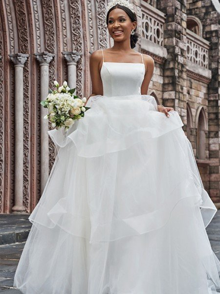 A-Line/Princess Tulle Spaghetti Straps Sleeveless Ruffles Sweep/Brush Train Wedding Dresses