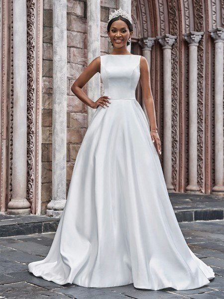A-Line/Princess Satin Bateau Ruffles Sleeveless Sweep/Brush Train Wedding Dresses