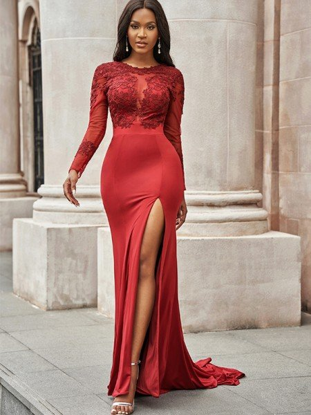 Trumpet/Mermaid Spandex Applique Scoop Long Sleeves Sweep/Brush Train Dresses
