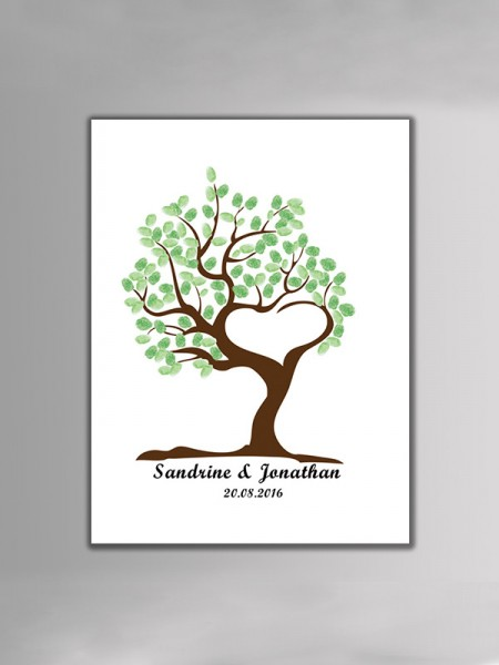 Beautiful Personalized Canvas Fingerprint Guestbook With Ink Pad