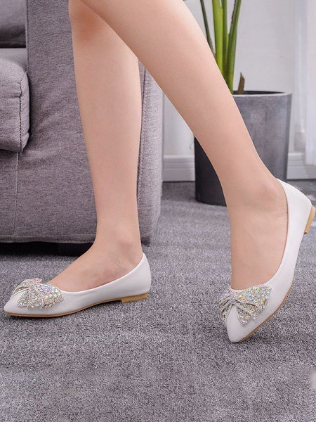 Women's PU Closed Toe With Rhinestone Flat Heel Flat Shoes