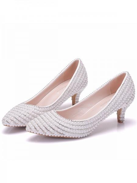 Women's PU Closed Toe With Pearl Kitten Heel High Heels