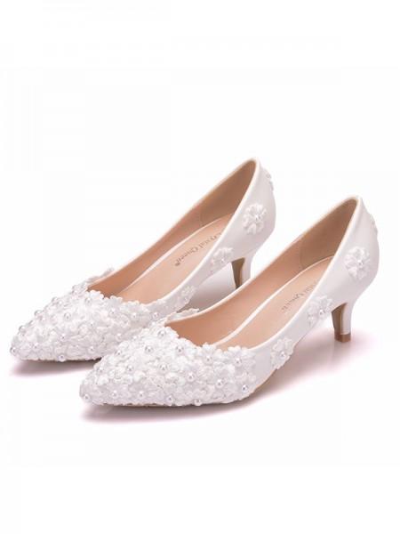 Women's PU Closed Toe With Flower Kitten Heel High Heels