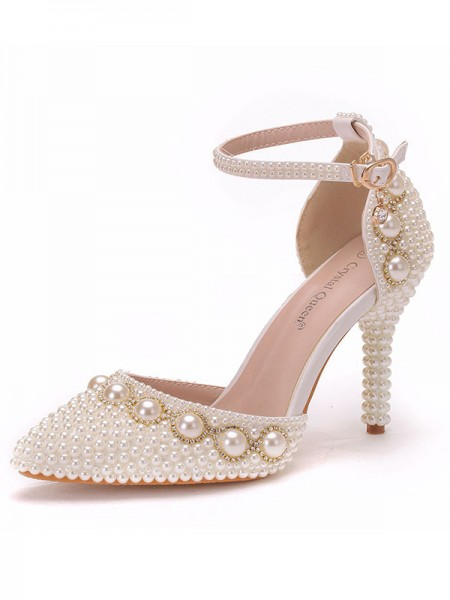 Women's PU Closed Toe With Beading Stiletto Heel High Heels