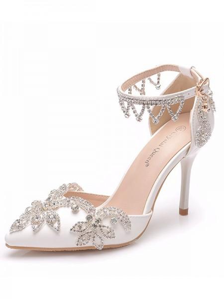 Women's PU Closed Toe With Flower Stiletto Heel Sandals