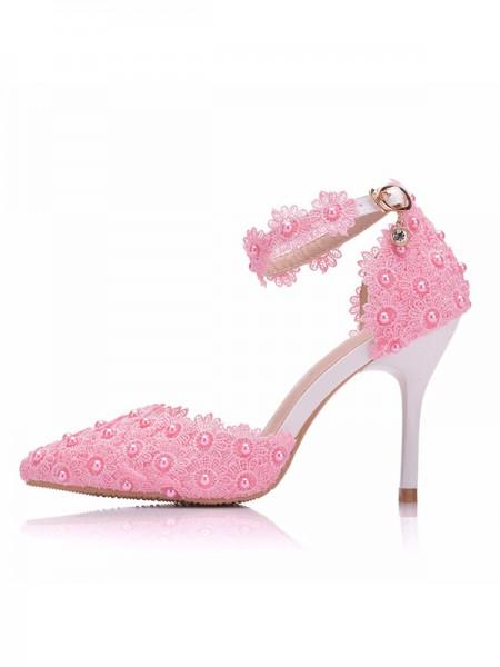 Women's PU With Flower Closed Toe Stiletto Heel High Heels