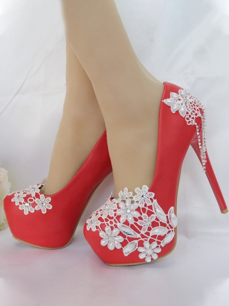 Women's PU Closed Toe With Tassel Stiletto Heel Platforms Shoes