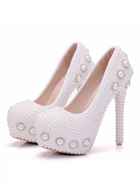 Women's PU Closed Toe With Pearl Stiletto Heel Platforms Shoes
